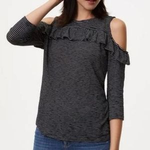 Loft Striped 3/4 sleeve cold shoulder ruffle top